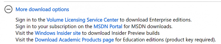 Difference between academic iso and normal windows 10 iso