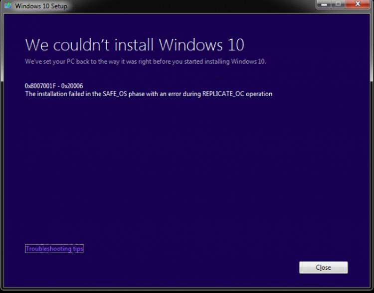 Win 7 to 10 0x8007001F upgrade error - Windows 10 Forums