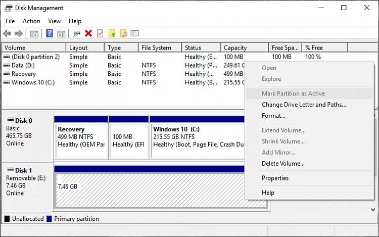 Click image for larger version.  Name:Set Active in UEFI disk management.PNG Views:1 Size:37.3 KB ID:233843