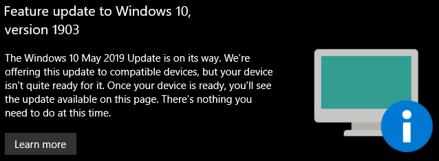 Device not ready to update to 1903 - Windows 10 Forums