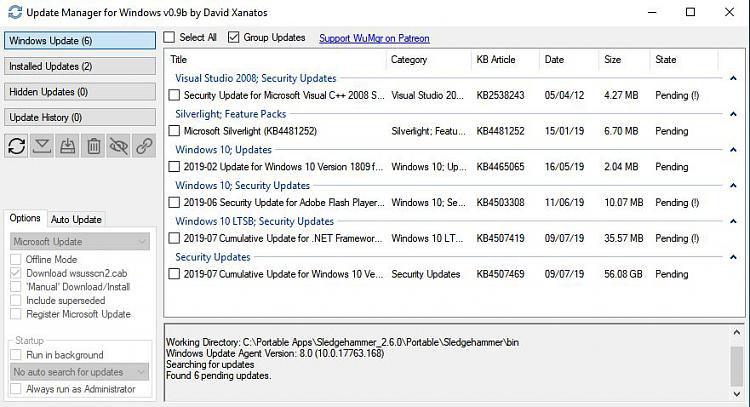 Click image for larger version.  Name:Update Manager for Windows v0.9b by David Xanatos.jpg Views:2 Size:88.1 KB ID:241092