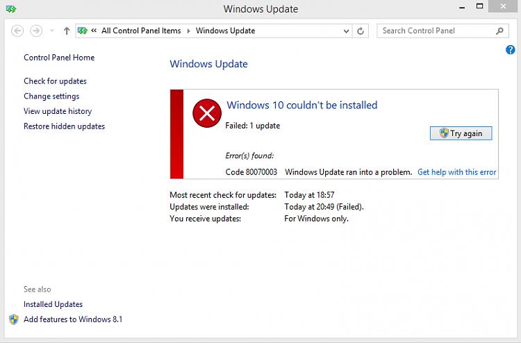 Windows 10 Error Code: 80070003 During