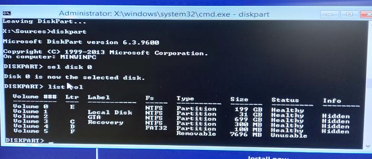 Unable to install Windows due to 2 serperate volumes being marked as C-20201016_032355.jpg