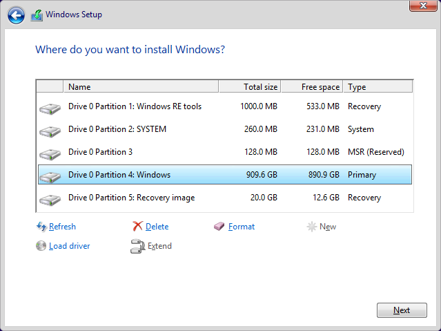 Fresh Install Windows 10 Recovery Partition Windows 10