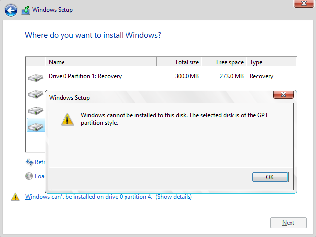 Click image for larger version.  Name:Windows cannot be installed to this disk. The selected disk is of the GPT partition style.png Views:12 Size:37.4 KB ID:44054