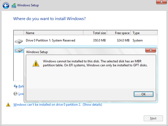 Click image for larger version.  Name:Windows cannot be installed on this disk. The selected disk has an MBR partition table.png Views:12 Size:36.1 KB ID:44055