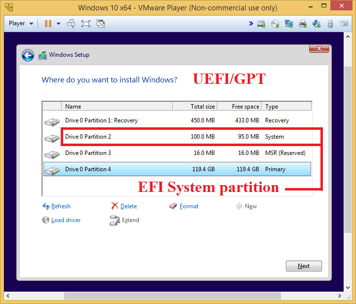 how to delete unwanted efi partition windows 10