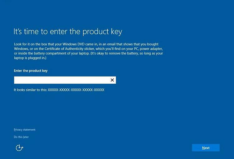 Click image for larger version.  Name:Windows_10_Enter_Product_Key.jpg Views:2 Size:36.5 KB ID:46649
