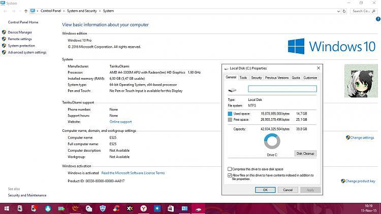 250GB Windows 10 Pro 64bit Hard Drive SATA Install DVDs Office 2013