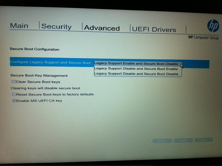 disable secure boot hp prodesk