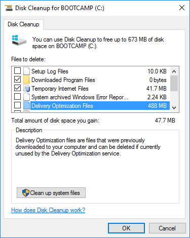 windows 10 pro disk space