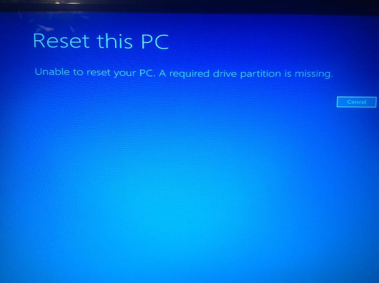 Unable to reset or recover Windows 10 using bootable USB drive