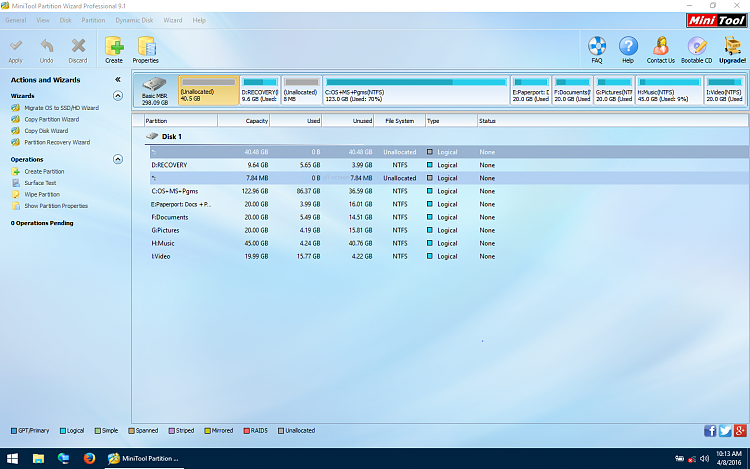 Capture Mini Tool after delete of temp primary partition.PNG