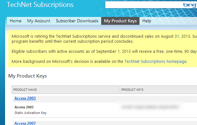 msdn product keys expire