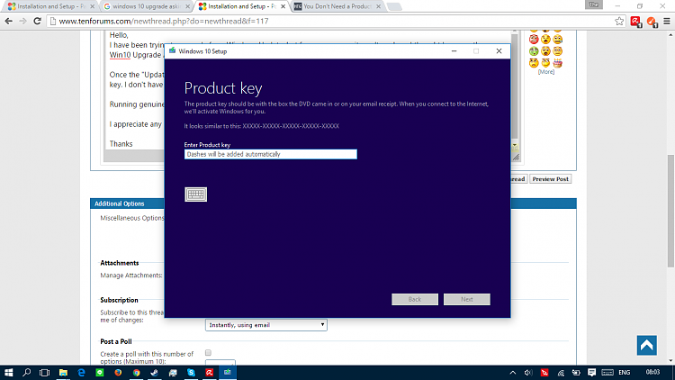 upgrade to windows 10 without product key