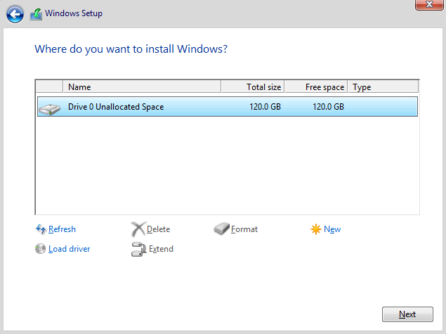 Downgrade a new HP laptop from windows 10 to Windows 8 - Possible?-drive-0-unallocated-space.png