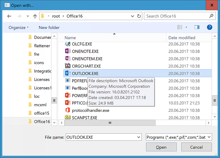 How to assign Outlook as default handler for  ics files