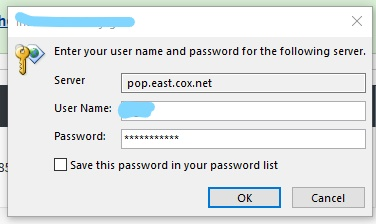Outlook 2016 repeatedly ask for user name and password