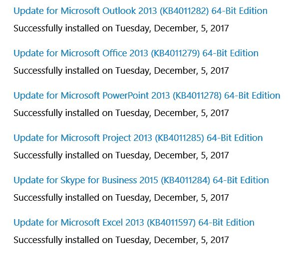 Click image for larger version.  Name:Office 2013 Updates Dec 5 2017.JPG Views:15 Size:70.1 KB ID:166898
