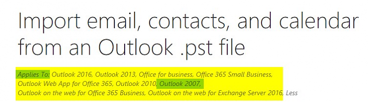 Upgrading Outlook 2007 to Outlook for Office 365 - Windows