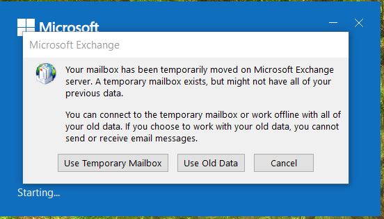 Your Mailbox Has Been Temporarily Moved Solved - Windows 10