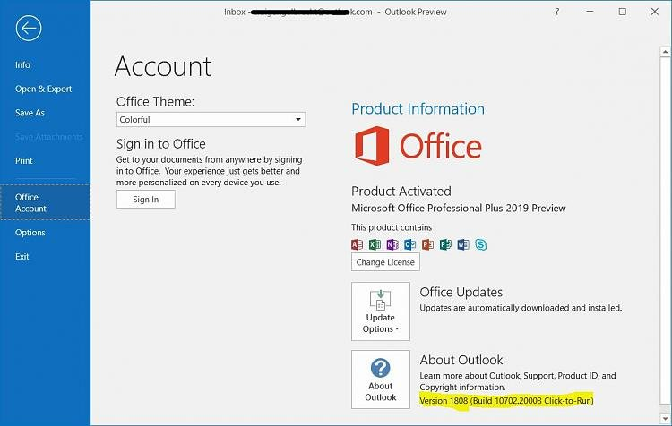 Afbeeldingsresultaat voor office 365 build number