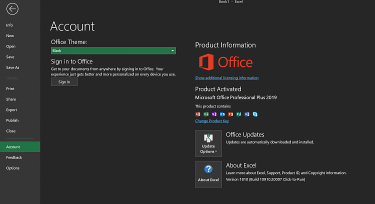 office 2019 black theme is back but outlook still auto config