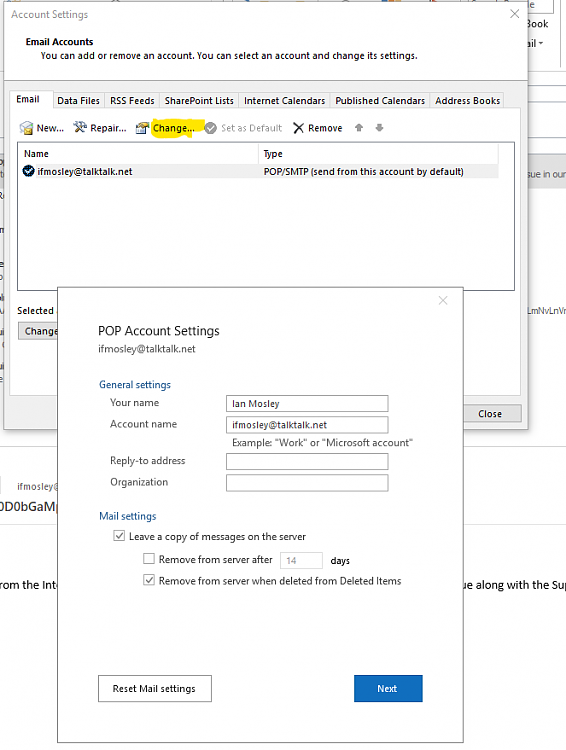 Outlook 2019 doesn't allow custom username for IMAP/SMTP