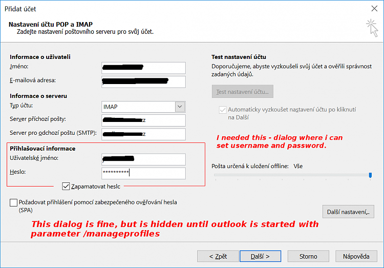 Outlook 2019 doesn't allow custom username for IMAP/SMTP