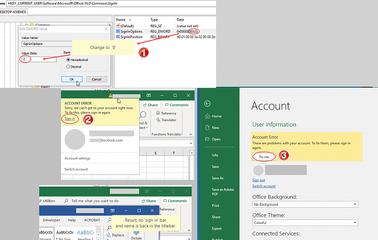 Excel (365) prompts to sign in to verify account - feature