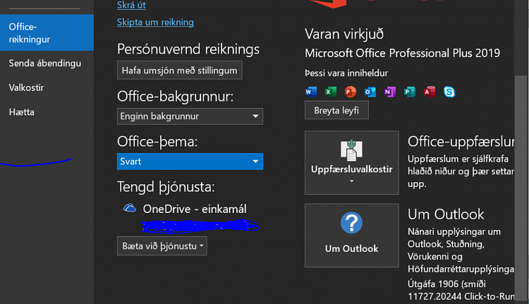 Office 2016 - Enable Black theme and keep it from