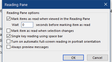 Oulook Office 2019 Reading Pane options fade away-image.png