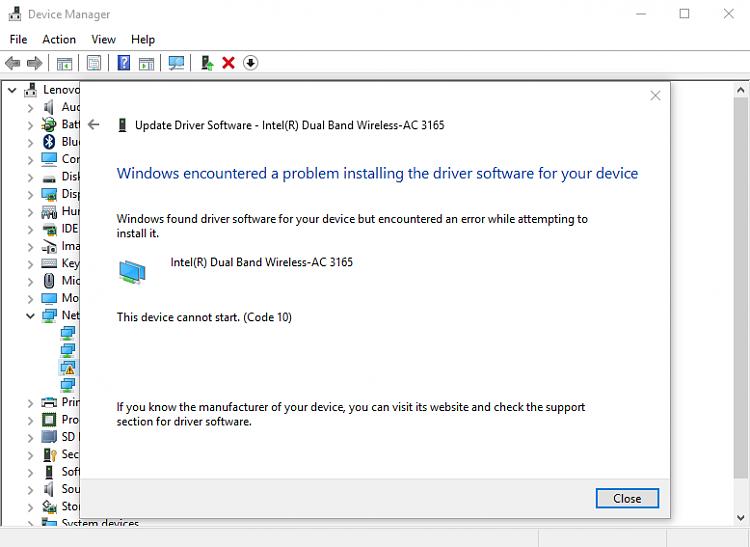 lenovo wireless problems windows 10