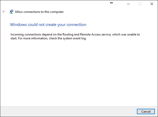 Can't setup new VPN connection for outside RDP access