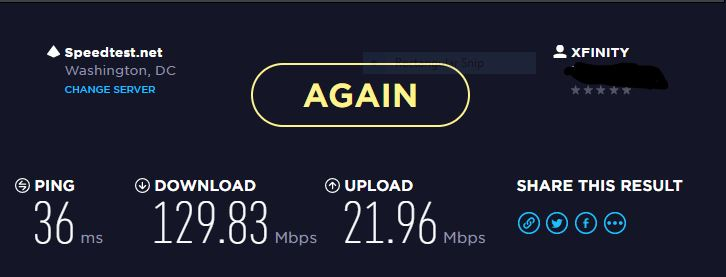 Click image for larger version.  Name:xfinity speedtest.JPG Views:49 Size:30.6 KB ID:144563