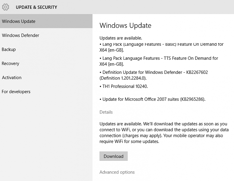 Click image for larger version.  Name:Windows update run on a metered connection - Build 10240 ready to install.PNG Views:0 Size:32.2 KB ID:146534