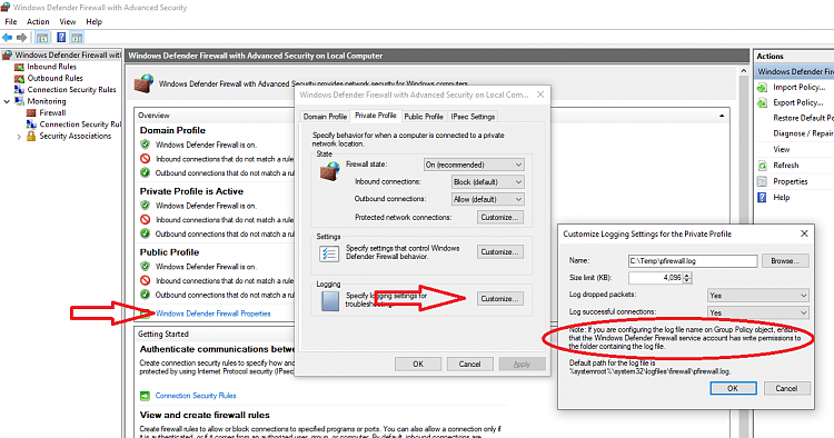 Windows firewall not logging packets Solved - Windows 10 Forums