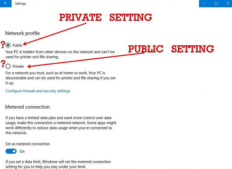 setting network location to private