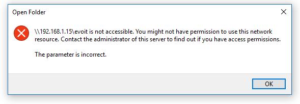Windows 10 blocks access when sharing files between ubuntu