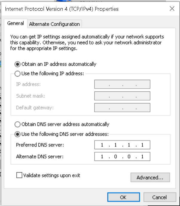 Static DNS With DHCP In Windows 10