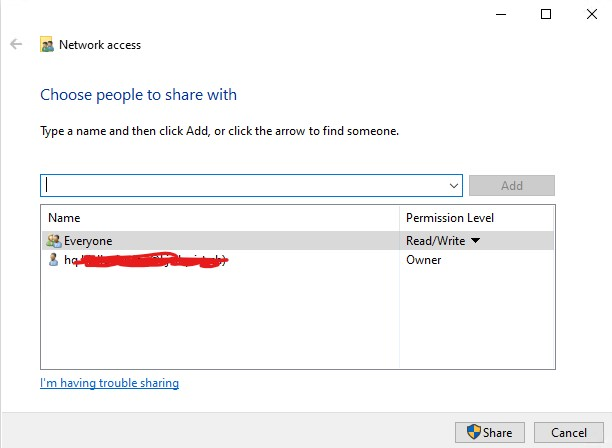 Give Access to -> Advanced Sharing, not working on my network-pic3.jpg