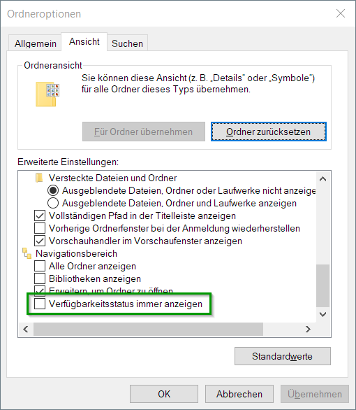 Disable the green Status online icon in the file explorer status bar?-ordneroptionen.png