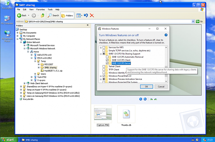 XP SP3 PC can't authenticate for shares on Windows 10 PC, SMB1 enabled-smp1-server-w10-xp-sharing.png