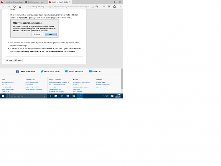 Comcast gateway with Belkin N300 - Windows 10 Forums