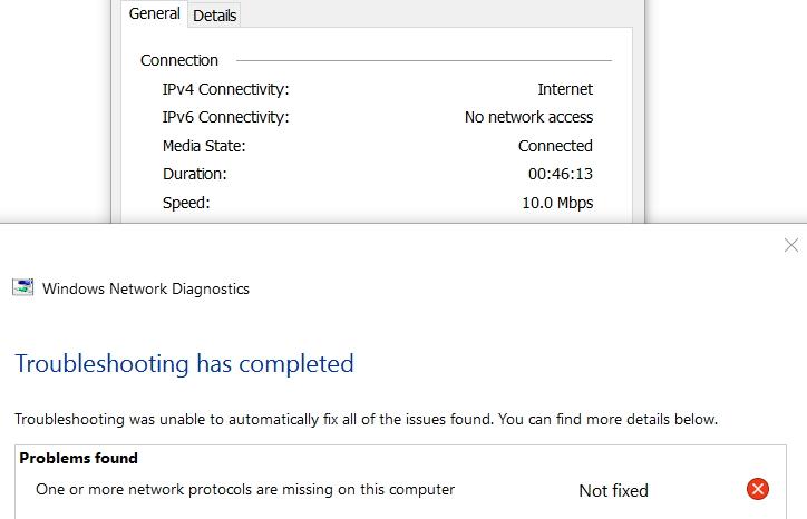 windows 10 update network protocols missing