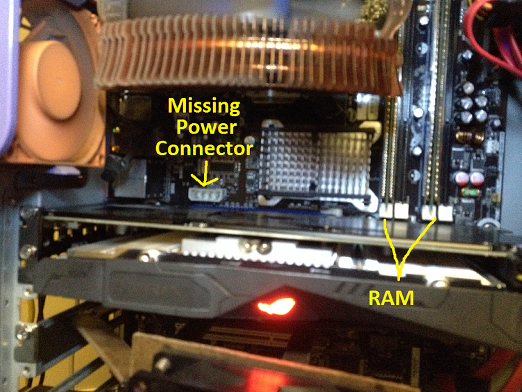 Showing to missing power connector and to RAM slots in use...