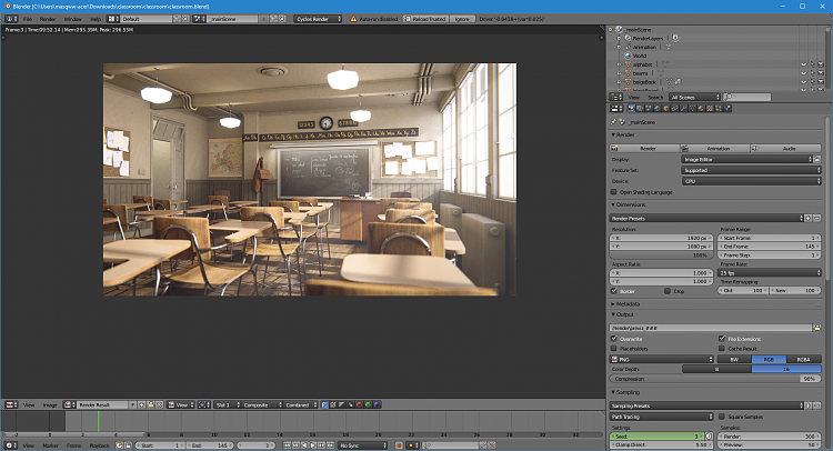 Click image for larger version.  Name:Blender CLASSROOM render 9.52.14.PNG Views:1 Size:1.42 MB ID:167189