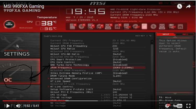 remove/disable the turbo mode from within the bios for a MSI