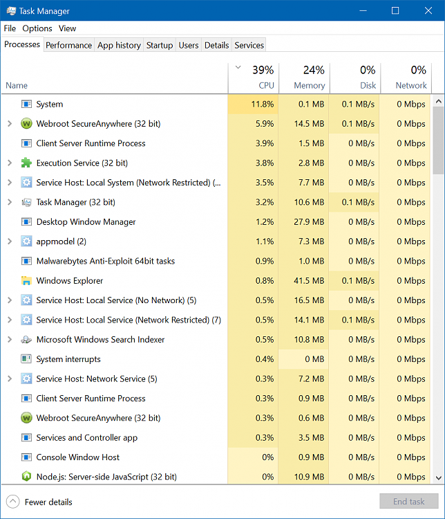 How fix 4-times-higher CPU usage at idle? Solved - Windows 10 Forums