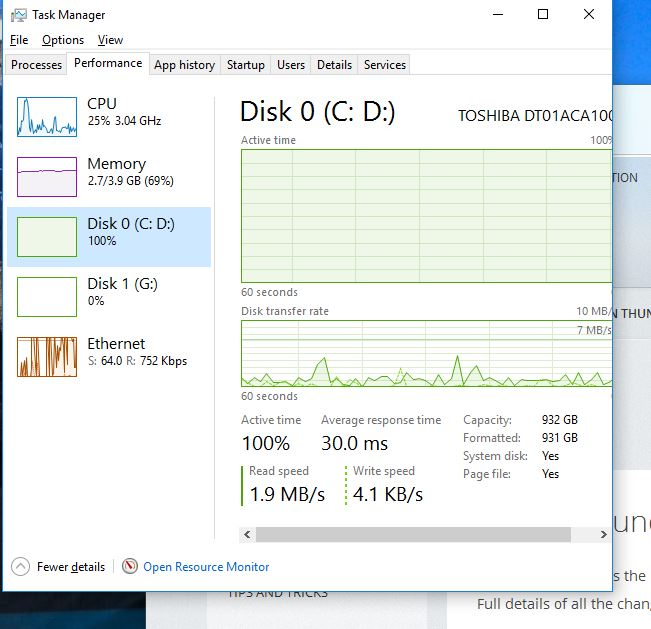 disk is constantly at 100